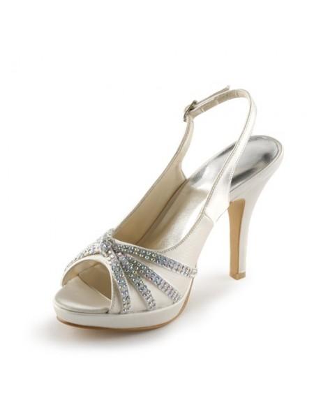 De las mujeres Satén Tacón de Aguja Zapato Abierto por Delante Plataforma Con Estrás Champagne Zapatos de boda
