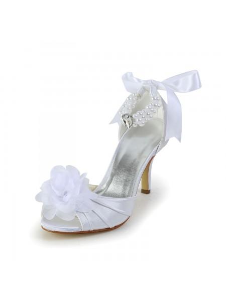 De las mujeres Satén Tacón de Aguja Zapato Abierto por Delante Zapatos de baile Con Imitation Pearl