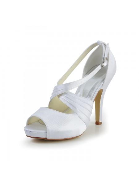 De las mujeres Satén Tacón de Aguja Zapato Abierto por Delante Con Buckle Blanco Zapatos de boda