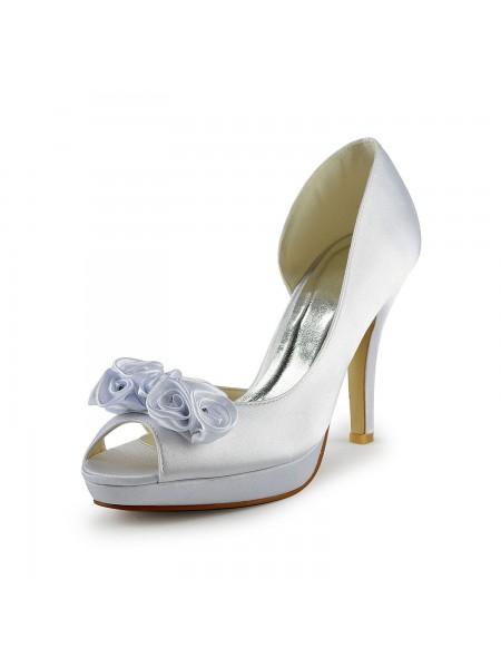 De las mujeres Satén Tacón de Aguja Zapato Abierto por Delante Con Flower Blanco Zapatos de boda