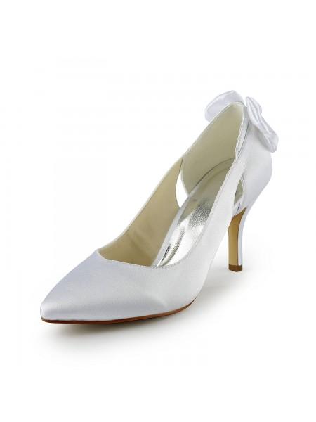 De las mujeres Satén Tacón de Aguja Pumps Con Hollow-out Blanco Zapatos de boda