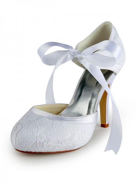 De las mujeres Satén Tacón de Aguja Pumps Con Encaje Blanco Zapatos de boda