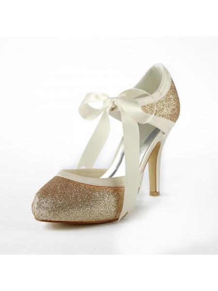 De las mujeres Satén Tacón de Aguja Pumps Con Sparkling Glitter Blanco Zapatos de boda