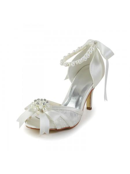 De las mujeres Satén Tacón de Aguja Sandalias Zapatos de baile Pearl