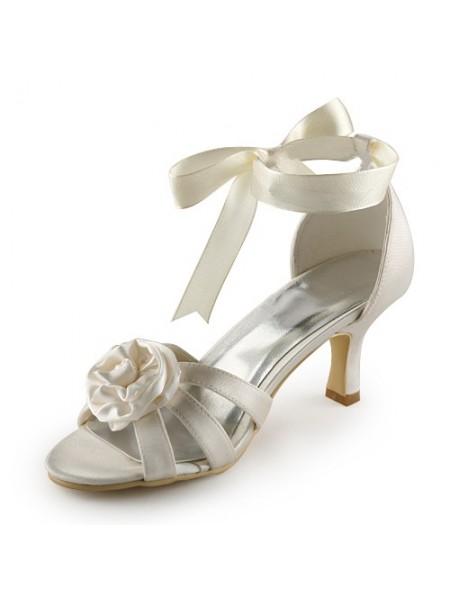 De las mujeres Satén Tacón de Aguja Sandalias Ivory Zapatos de boda Con Satén Flores