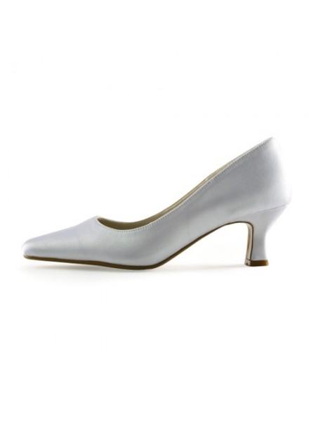 De las mujeres Satén Upper Tacón grueso Pointed Toe Blanco Zapatos de boda