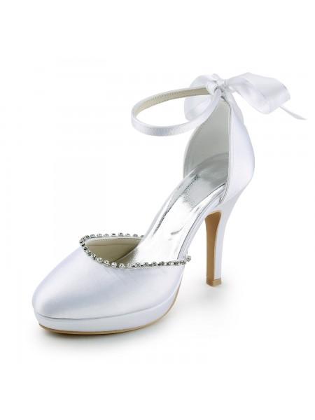 De las mujeres Satén Tacón de Aguja Punta Cerrada Con Estrás Blanco Zapatos de boda