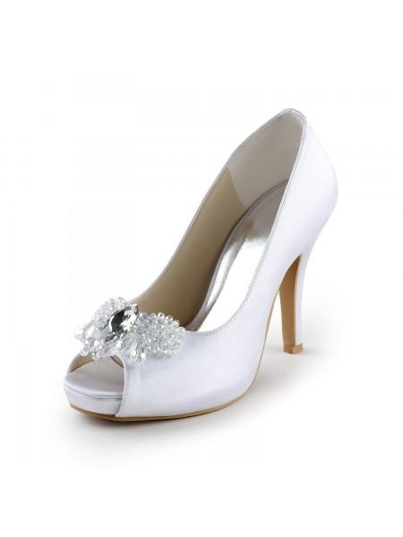 De las mujeres Satén Upper Tacón de Aguja Zapato Abierto por Delante Pumps Con Estrás Blanco Zapatos de boda