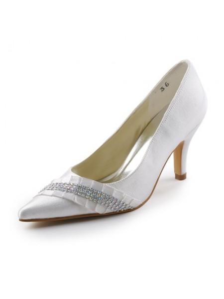 De las mujeres Satén Tacón de Aguja Pointed toe Con Estrás Blanco Zapatos de boda