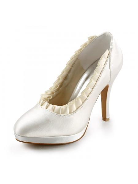 De las mujeres Satén Upper Tacón de Aguja Pumps Con Ruffles Ivory Zapatos de boda