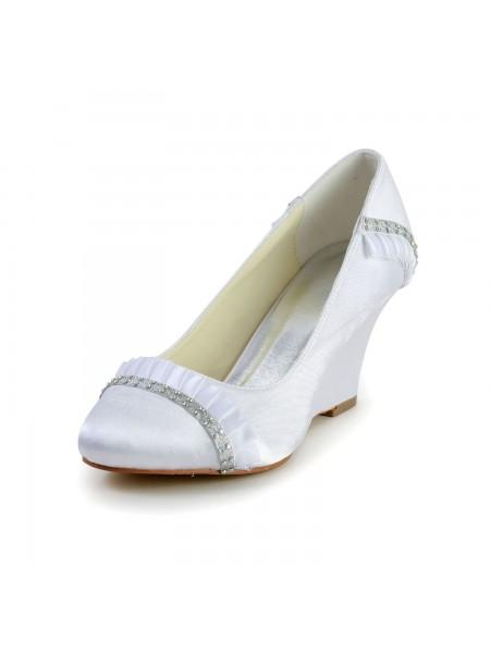 De las mujeres Satén Talón de cuña Wedges Punta Cerrada Blanco Zapatos de boda