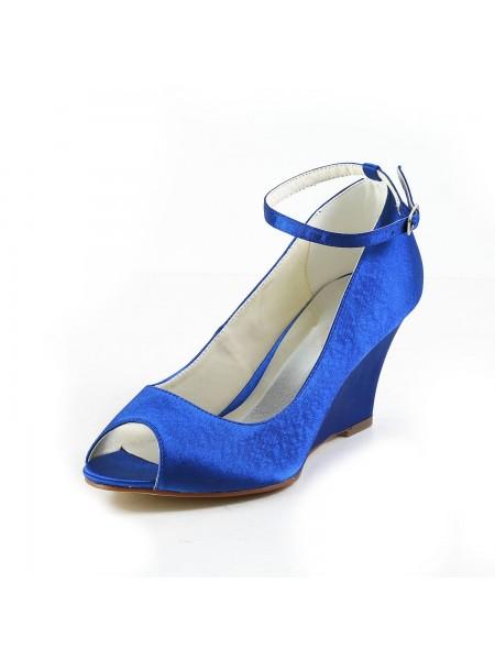 De las mujeres Satén Talón de cuña Wedges Zapato Abierto por Delante acuña los zapatos Con Buckle