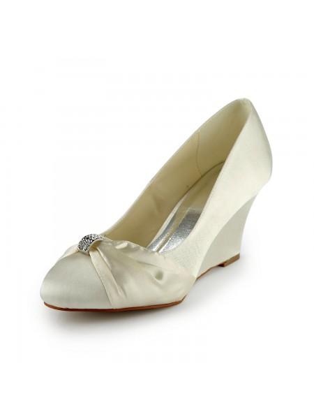 De las mujeres Satén Talón de cuña Wedges Con Estrás Ivory Zapatos de boda