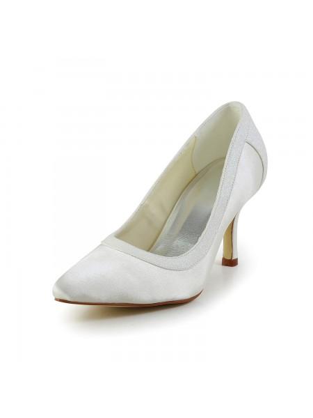 De las mujeres Simple Satén Tacón de Aguja Punta Cerrada Blanco Zapatos de boda