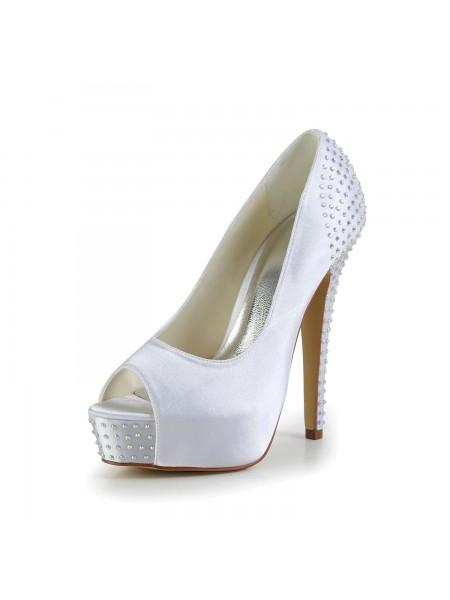 De las mujeres Satén Tacón de Aguja Zapato Abierto por Delante Plataforma Blanco Zapatos de boda Con Estrás