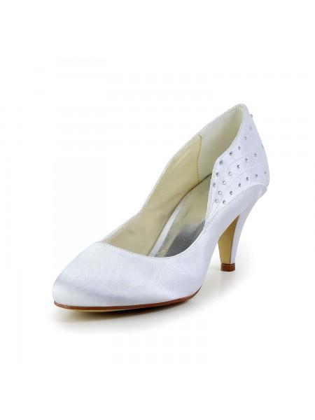 De las mujeres Simple Satén Punta Cerrada Talón de cono Blanco Zapatos de boda Con Estrás