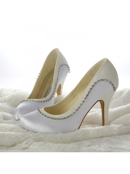 De las mujeres Tacón de Agujas Closed-toe Abalorios Blanco Zapatos de boda