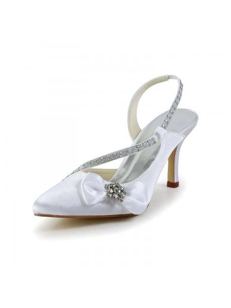 De las mujeres Satén Punta Cerrada Spool Heel Con Estrás Lazos Blanco Zapatos de boda