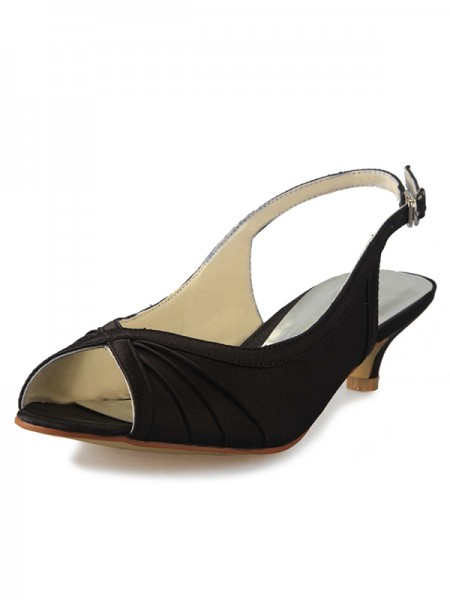 De las mujeres Kitten Heel Satén Zapato Abierto por Delante Slingbacks Con Buckle Zapatos de las sandalias