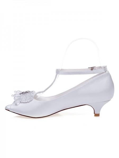 De las mujeres Satén Zapato Abierto por Delante Talón de cono Pearls Zapatos de boda