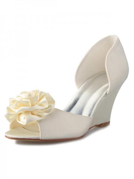 De las mujeres Talón de cuña Satén Zapato Abierto por Delante Con Flores Blanco Zapatos de boda