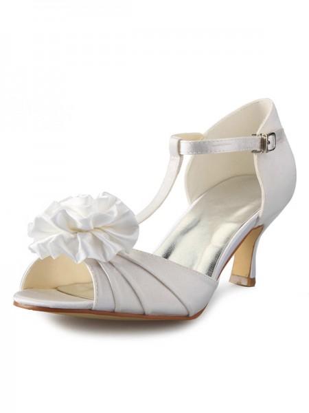 De las mujeres Satén Tacón de Aguja T-Strap Zapato Abierto por Delante Con Flores Zapatos de baile