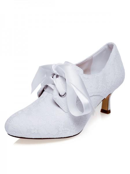 De las mujeres Satén Punta Cerrada Silk Spool Heel Zapatos de boda