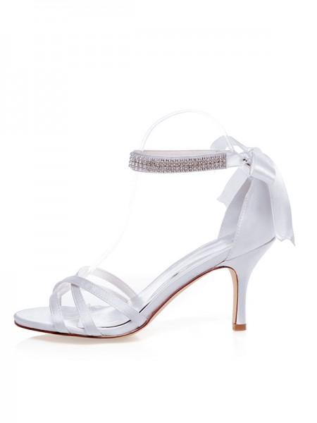 De las mujeres Satén Zapato Abierto por Delante Tacón de Aguja Silk Zapatos de boda
