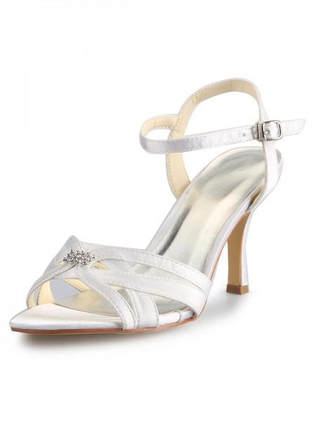 De las mujeres Satén Tacón de Aguja Zapato Abierto por Delante Con Estrás Buckle Zapatos de baile
