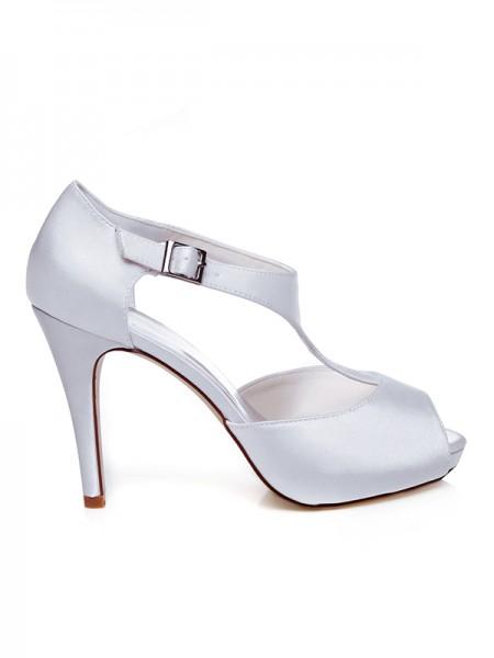 De las mujeres Satén Zapato Abierto por Delante Buckle Tacón de Aguja Zapatos de boda