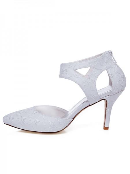 De las mujeres Satén Punta Cerrada Spool Heel Zipper Zapatos de boda