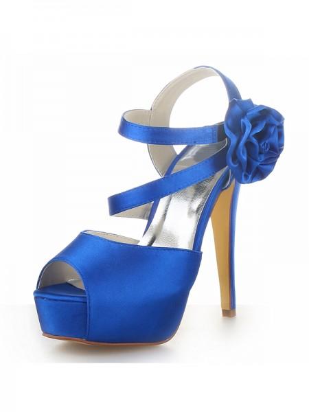 De las mujeres Satén Zapato Abierto por Delante Plataforma Tacón de Aguja Con Flores Zapatos de las sandalias
