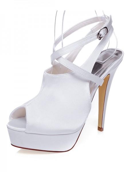 De las mujeres Satén Zapato Abierto por Delante Tacón de Aguja Knots Zapatos de boda