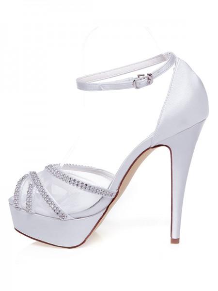 De las mujeres Satén Zapato Abierto por Delante Tacón de Aguja Estrás Zapatos de boda