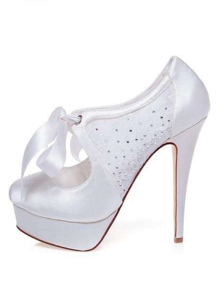 De las mujeres Satén Punta Cerrada Tacón de Aguja Silk Zapatos de boda