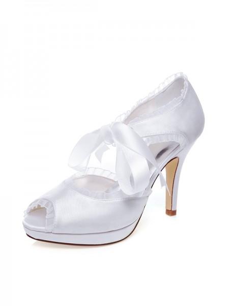 De las mujeres Satén Zapato Abierto por Delante Silk Tacón de Aguja Zapatos de boda