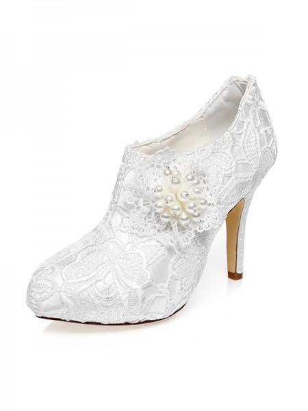 De las mujeres Satén Punta Cerrada Tacón de Aguja Flores Zapatos de boda