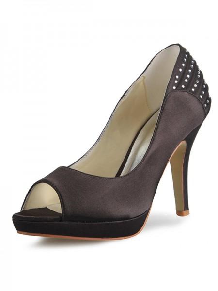 De las mujeres Satén Talón de cono Plataforma Zapato Abierto por Delante Con Estrás Zapatos de las plataformas