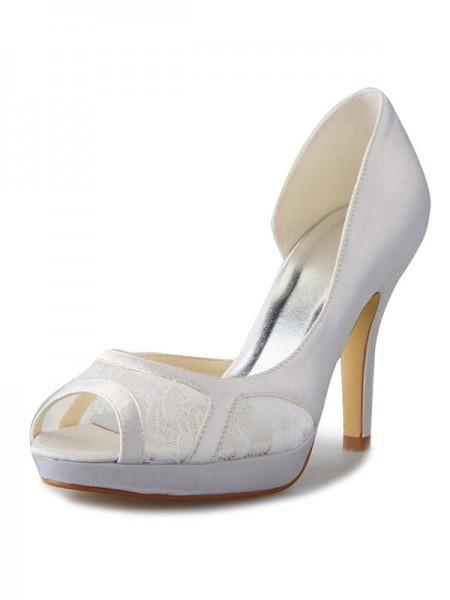 De las mujeres Tacón de Aguja Satén Plataforma Zapato Abierto por Delante Con Encaje Blanco Zapatos de boda