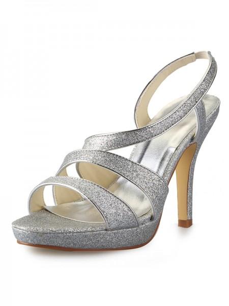 De las mujeres Talón de cono Plataforma Satén Zapato Abierto por Delante Con Sparkling Glitter Zapatos de las sandalias