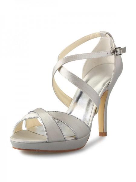 De las mujeres Satén Tacón de Aguja Plataforma Zapato Abierto por Delante Con Buckle Zapatos de baile