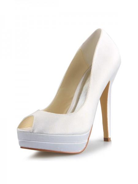 De las mujeres Satén Tacón de Aguja Zapato Abierto por Delante Plataforma Blanco Zapatos de boda