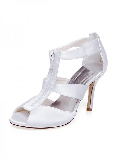 De las mujeres Satén Zapato Abierto por Delante Zipper Tacón de Aguja Zapatos de boda