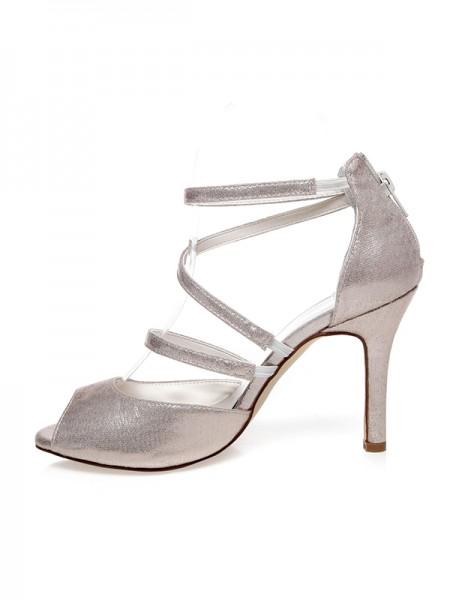 De las mujeres PU Zapato Abierto por Delante Zipper Tacón de Aguja Zapatos de boda