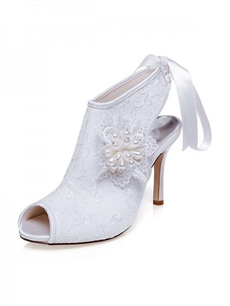 De las mujeres Satén Zapato Abierto por Delante Flores Tacón de Aguja Zapatos de boda