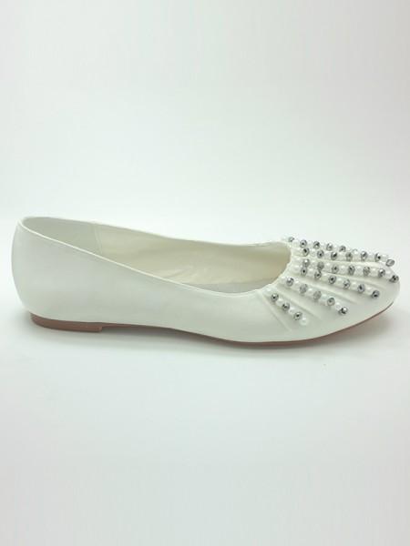De las mujeres Satén Punta Cerrada Talón Plano Beading Zapatos de boda
