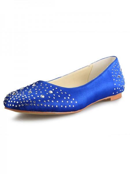 De las mujeres Talón Plano Satén Punta Cerrada Con Estrás Zapatos planos