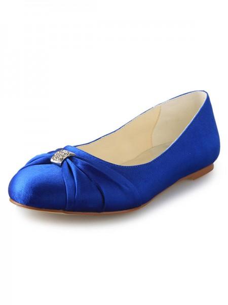 De las mujeres Talón Plano Punta Cerrada Satén Con Estrás Zapatos planos