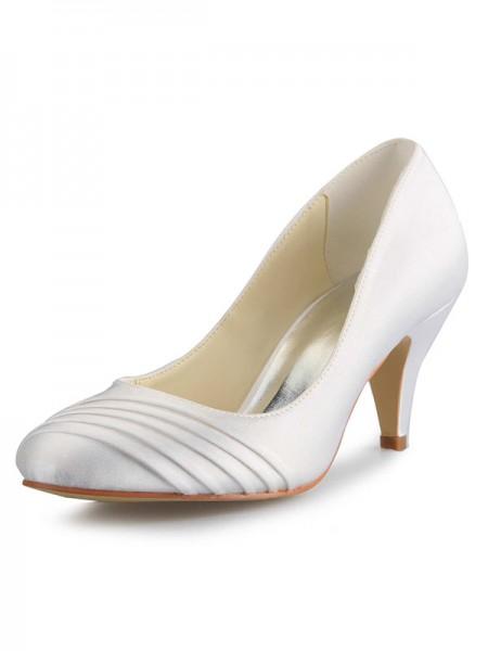De las mujeres Talón de cono Satén Punta Cerrada Blanco Zapatos de boda