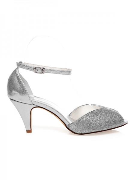 De las mujeres PU Zapato Abierto por Delante Buckle Talón de cono Zapatos de boda